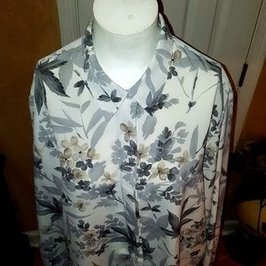 Alfred Dunner Tops - Alfred Dunner Woman's Light/Dark Gray/Brown Floral